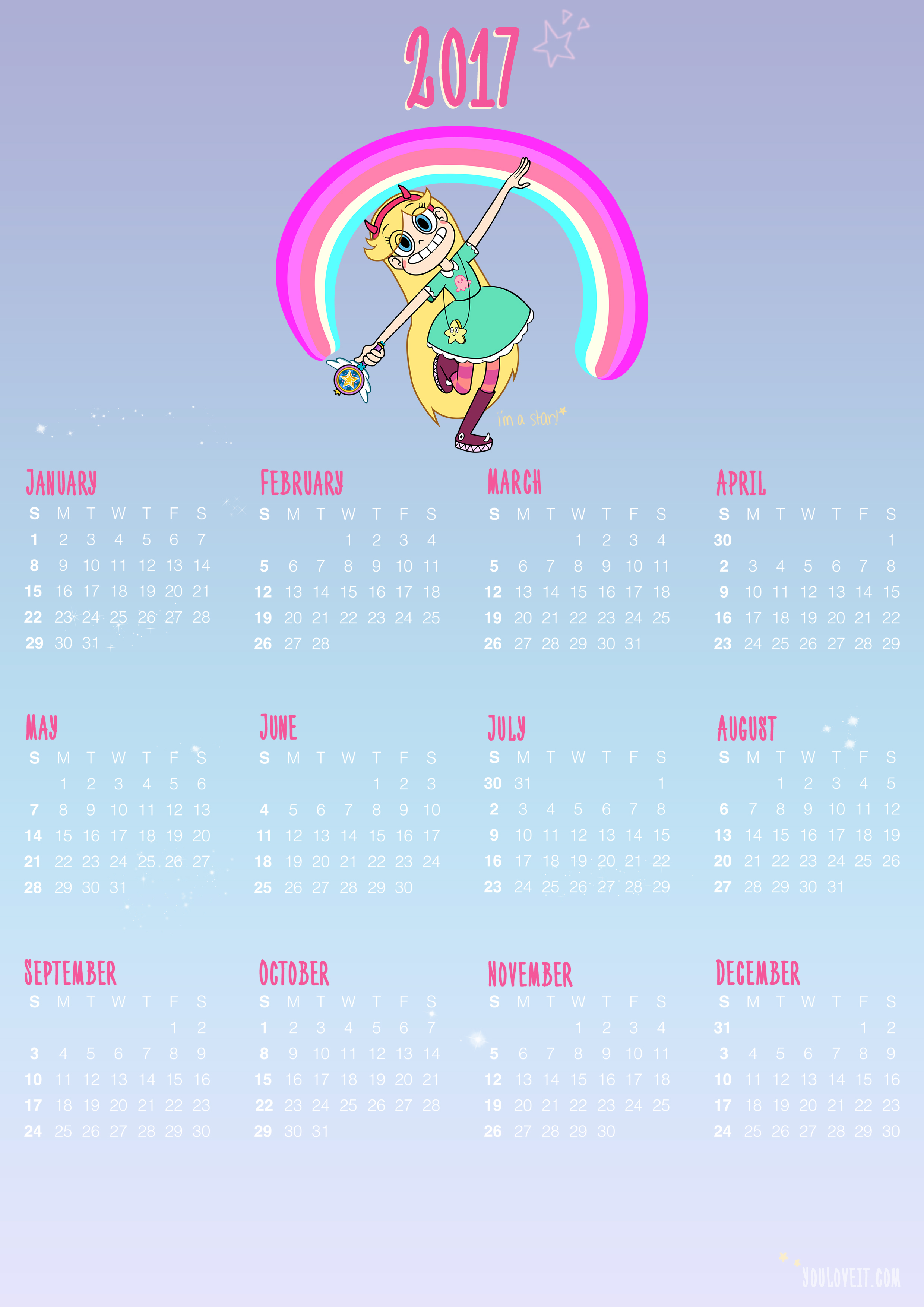 Star Vs The Forces Of Evil Calendars 2017 Youloveit Com