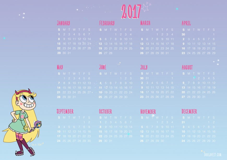 Star vs. the Forces of Evil calendar 2017