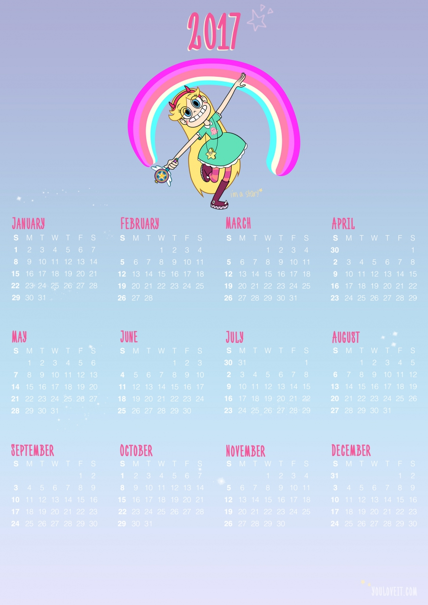 Download and print Star vs. the Forces of Evil calendar