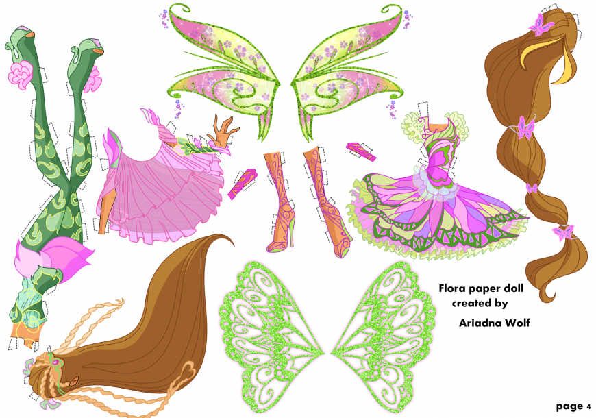 Winx Club Flora paper doll with clothes - YouLoveIt.com Winx Club Flora Enchantix Doll