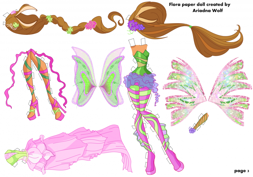 Winx Club Flora paper doll with clothes and hair