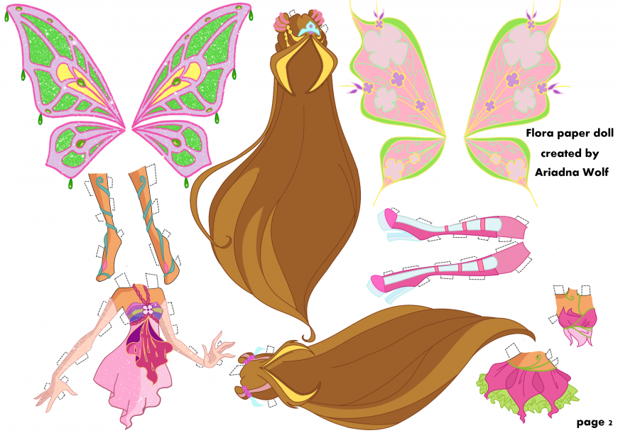 Winx Club Flora paper doll with clothes