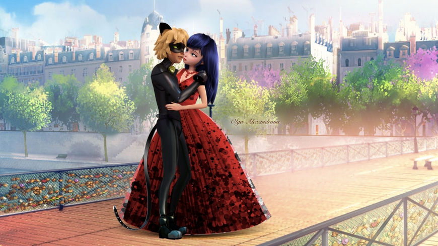 Marinette & Cat Noir kiss