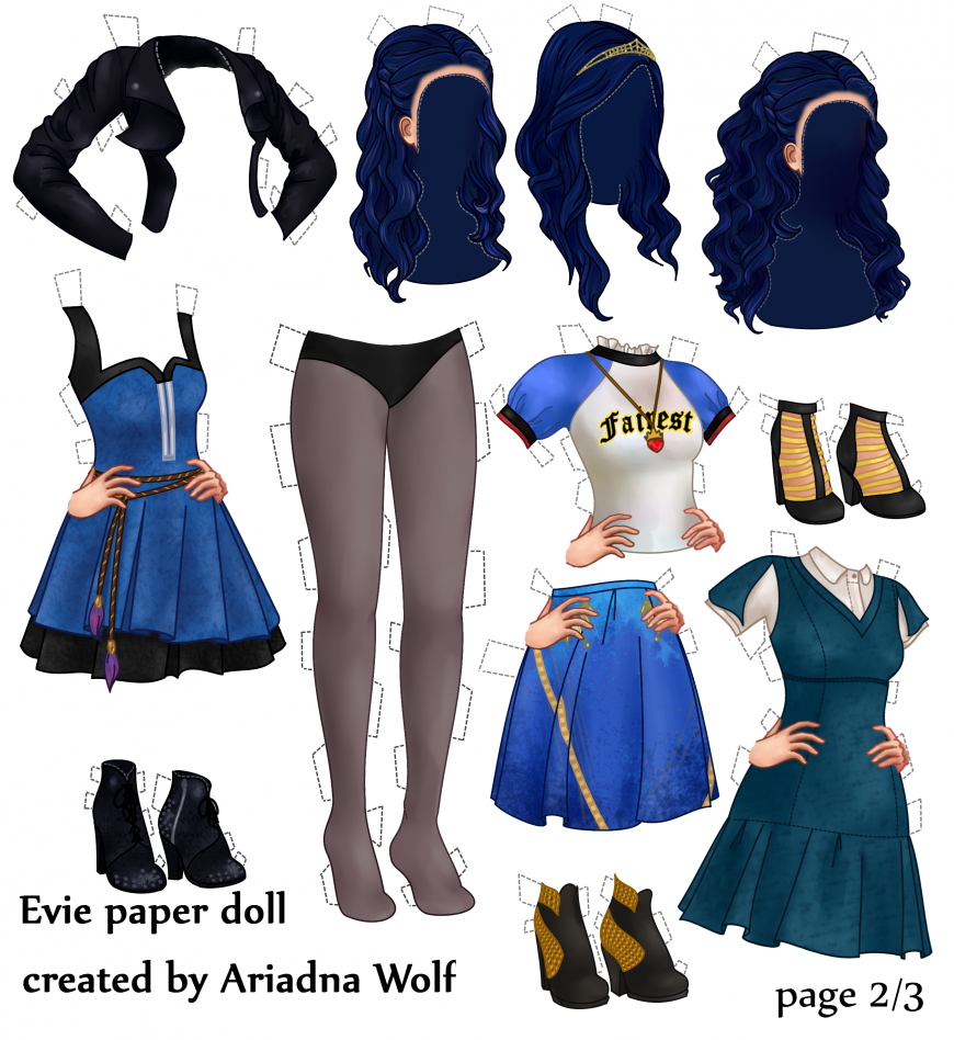 Disney Descendants clothes for paper doll Evie