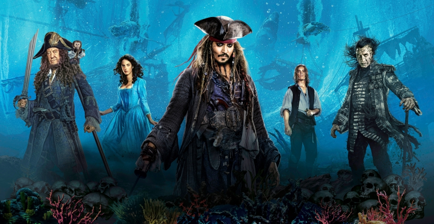 Pirates of the Caribbean 5 big Hi Res poster with all characters