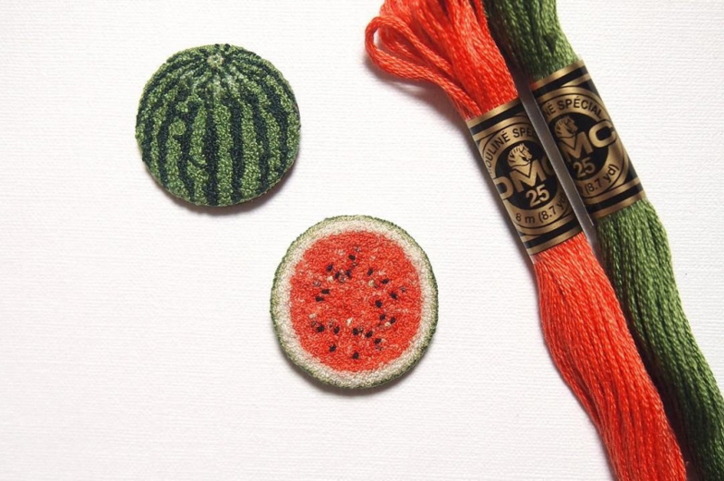 Realistic embroidered food