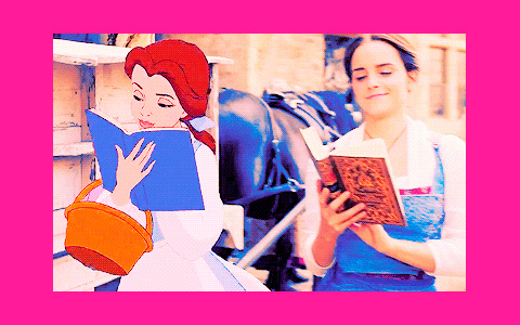 Beauty and the Beast cartoon and movie characters together