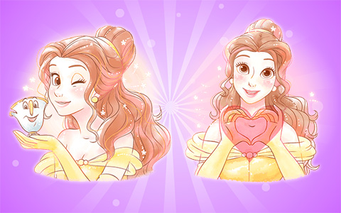 New beautiful pictures of princess Belle with different emotions