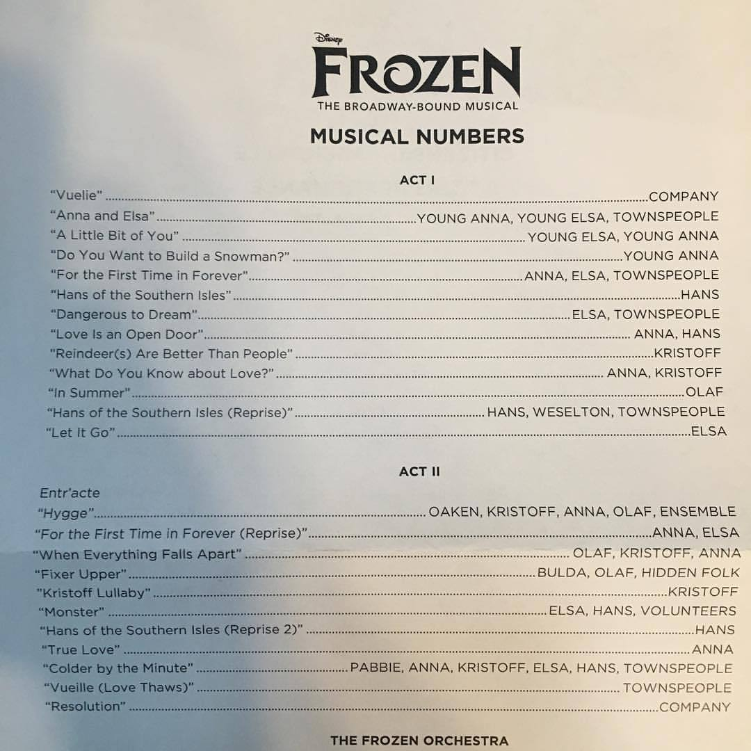list of the song from frozen musical - youloveit