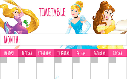 Back to School - Printable timetables with Disney Princess