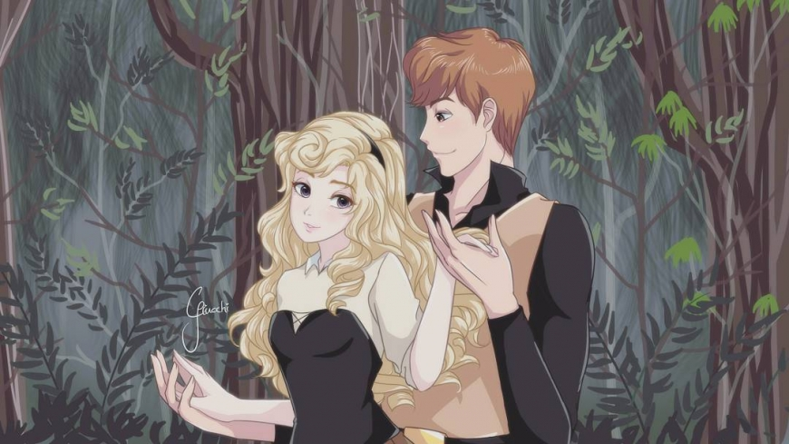 Princess Aurora and Prince Phillip in anime style