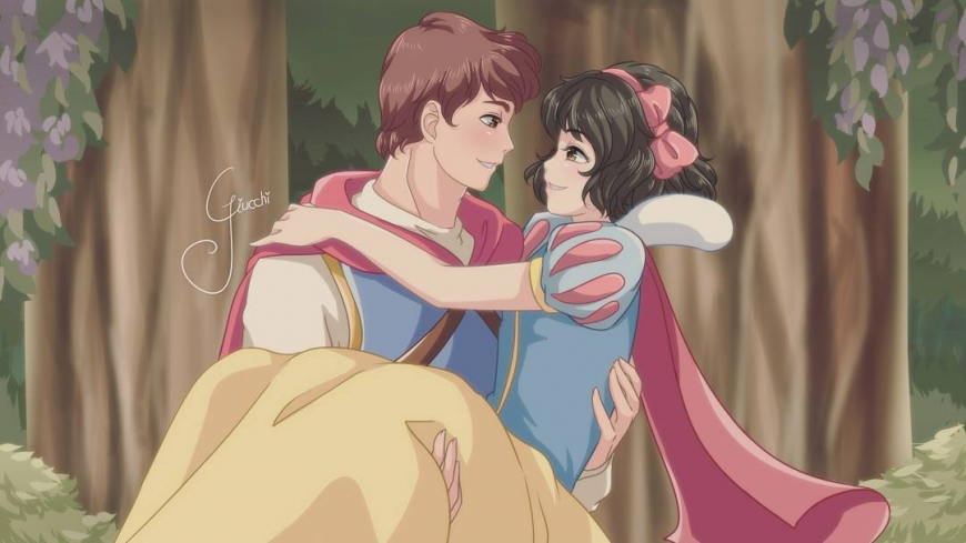 Snow White and Prince in anime style