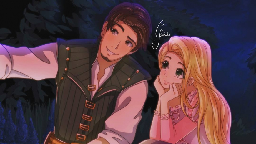Flynn Rider and Rapunzel in anime style