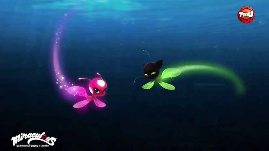 Miraculous Ladybug season 2 Tikki and Plaggue in the underwater transformation