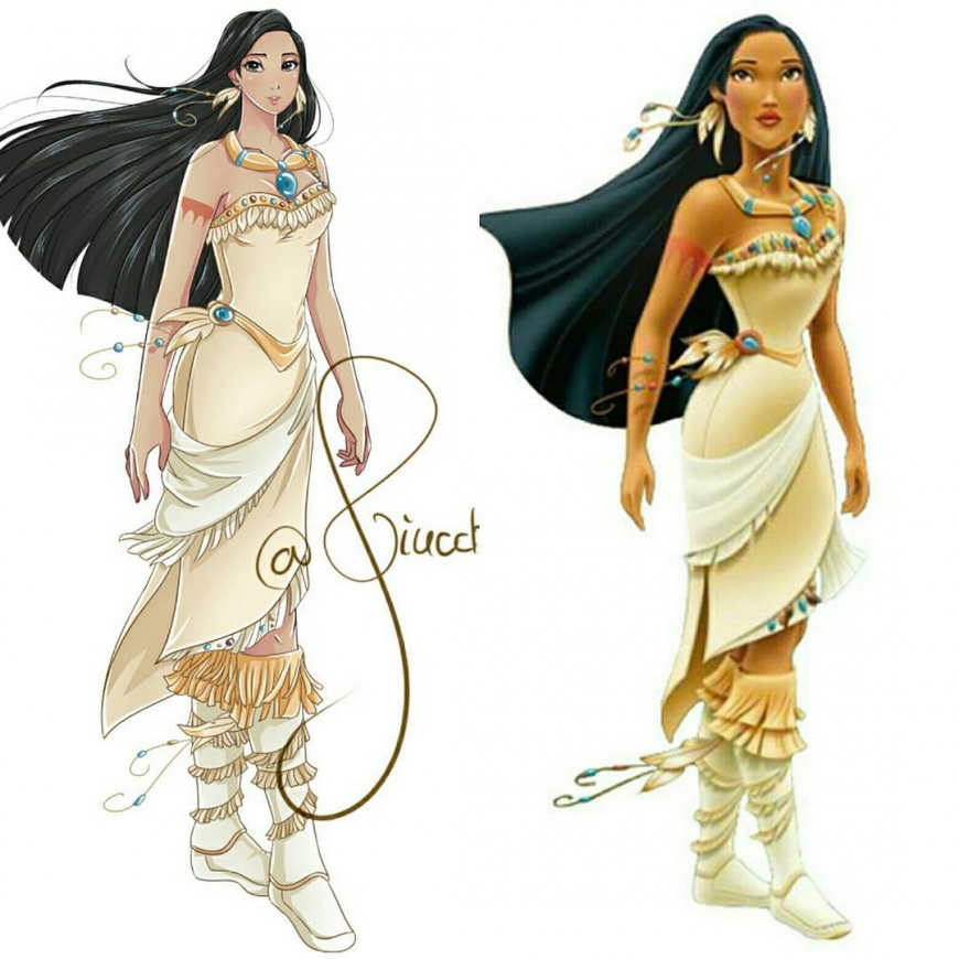 Pocahontas in anime style