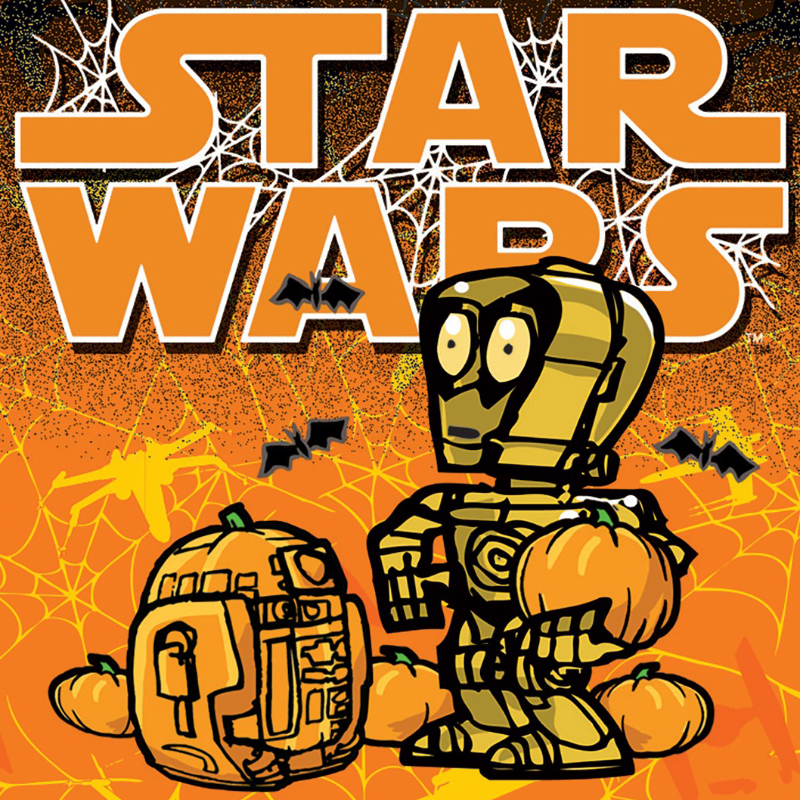 star wars halloween card with c 3po