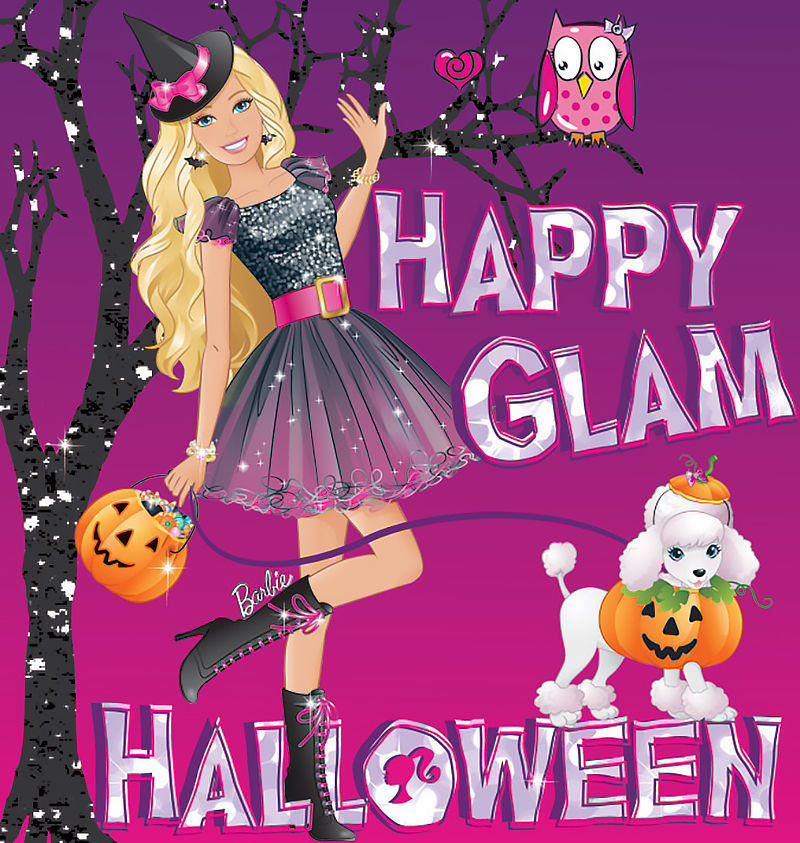 Happy Glam Halloween Barbie card