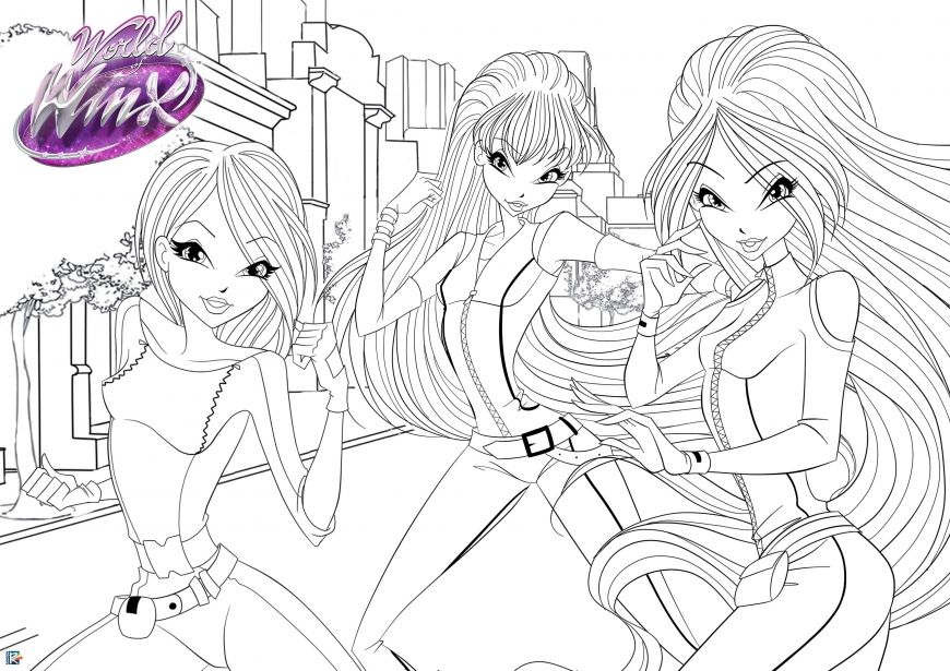 World of Winx coloring poster - spy Winx