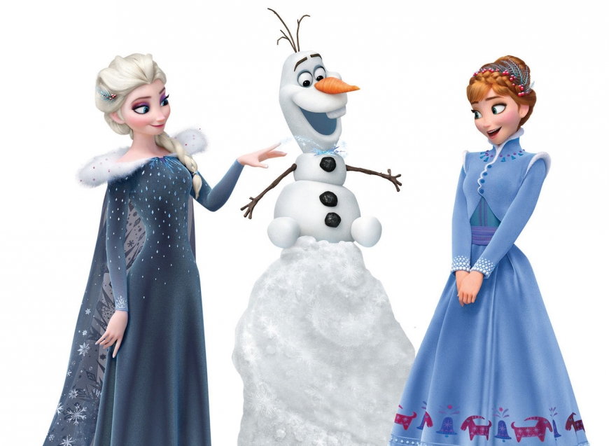 Olaf's Frozen Adventure picture with Elsa, Olaf and Anna