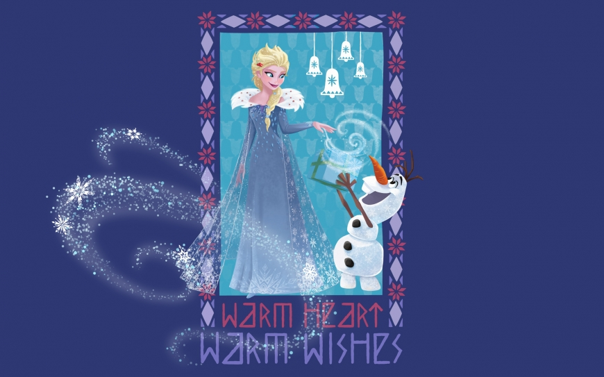 Olaf's Frozen Adventure wallpaper - Elsa and Olaf with gift