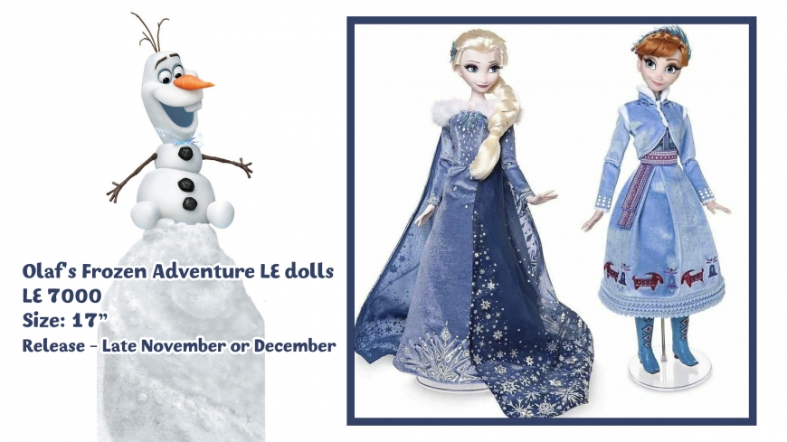 Frozen Elsa and Anna Disney limited edition dolls Olaf's Frozen Adventure