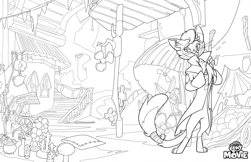 My Little Pony The Movie coloring page with cat Capper