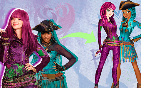 Disney Descendants 2  from movie to cartoon style