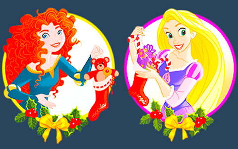 Disney Princess Christmas icons