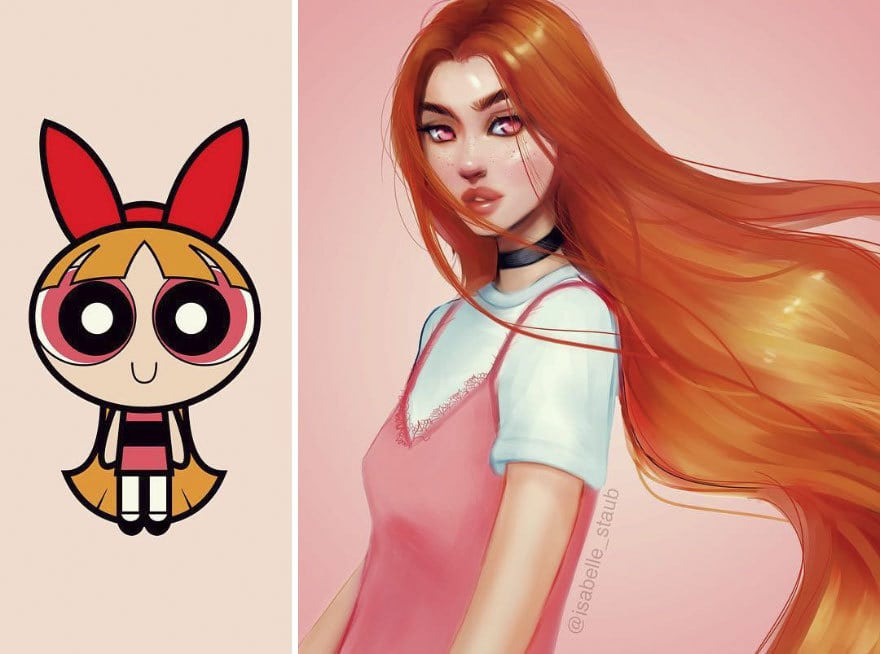 the artist redrawn the heroines of famous cartoons making them more