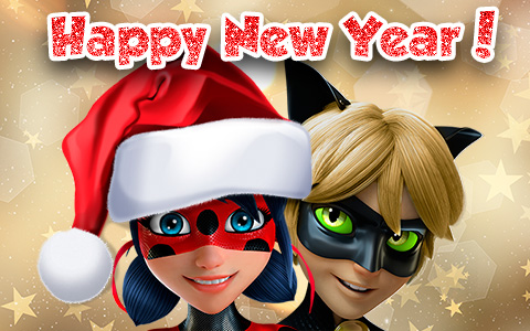 Miraculous Ladybug Happy New Year pictures - cards
