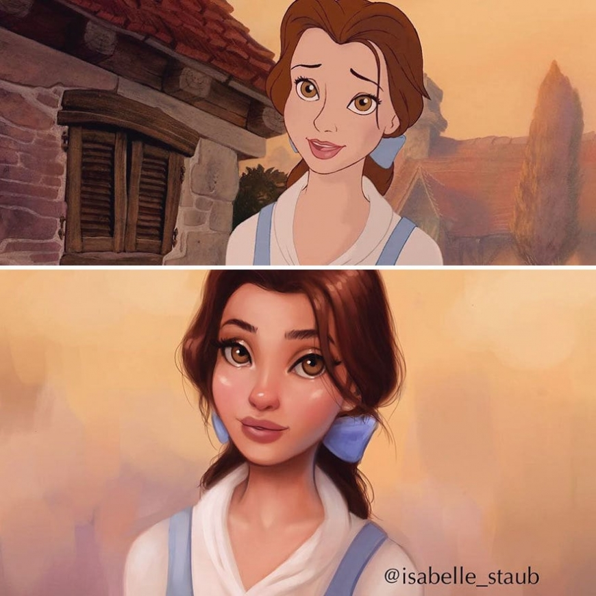 "Redrawn realistic Bell, ""Beauty and the Beast"""