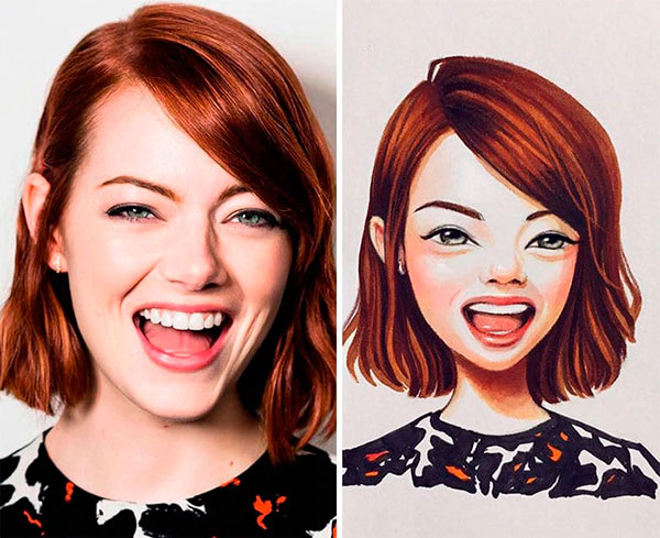 Actress Emma Stone as toon