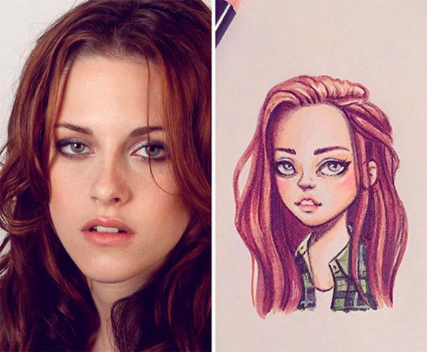 Actress Kristen Stewart as toon
