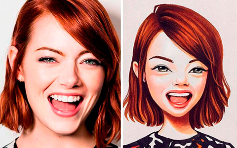 The artist turned celebrities into cartoon characters