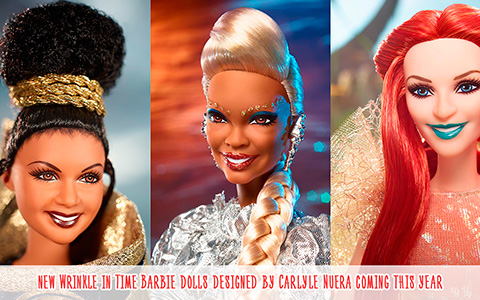 A Wrinkle in Time Barbie 2018 dolls: Mrs. Which, Mrs. Who and Mrs. Whatsit