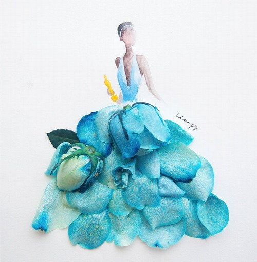Flower dress - watercolor drawinf with flower petals Lim Zhi Wei