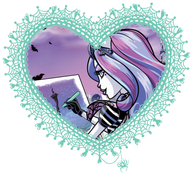 Monster High valentines in spider web hearts