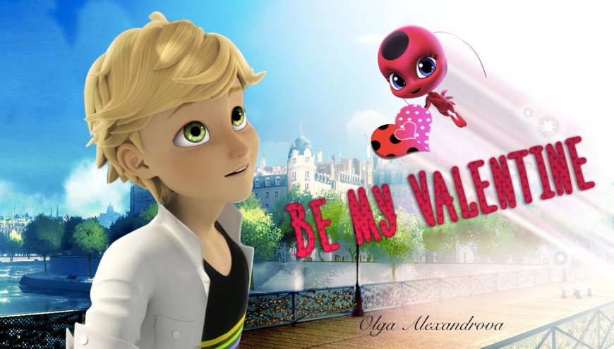 Miraculous Ladybug valentine card with Adrien Agreste