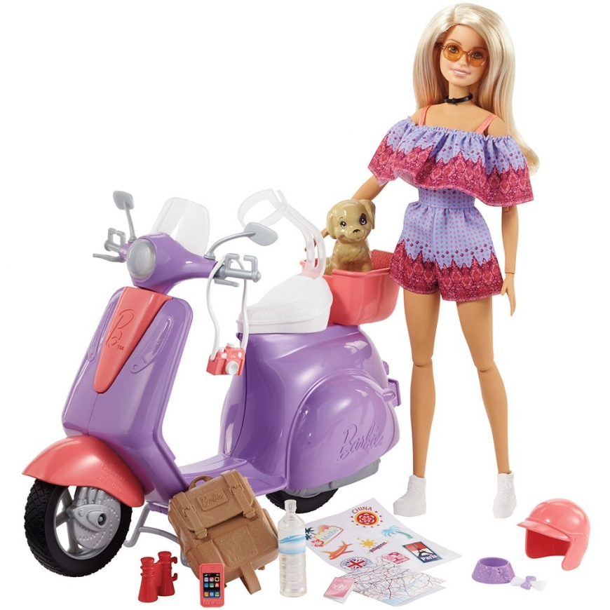 2018 Barbie Pink Passport Travel Doll and Scooter