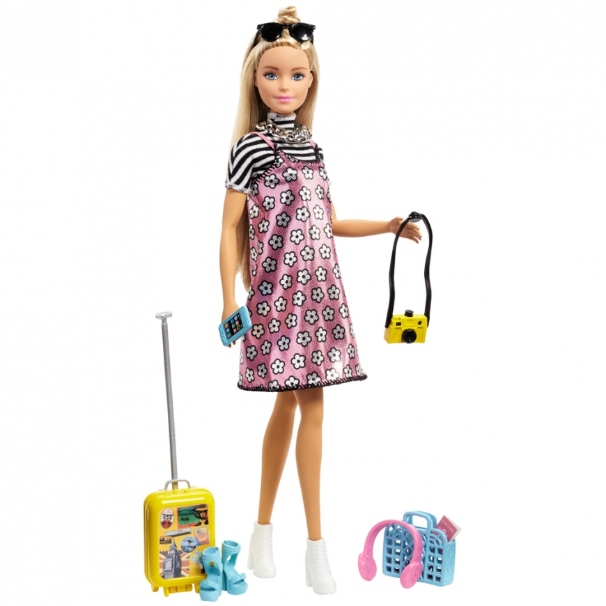 2018 Barbie Pink Passport Doll and Travel Accessory Set