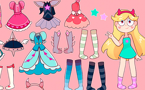 Star vs. the Forces of Evil: Star Butterfly paper doll with clothes from season 1