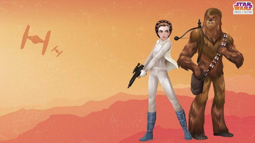 PRINCESS LEIA ORGANA CHEWBACCA Star Wars: Forces of Destiny desktop wallpaper