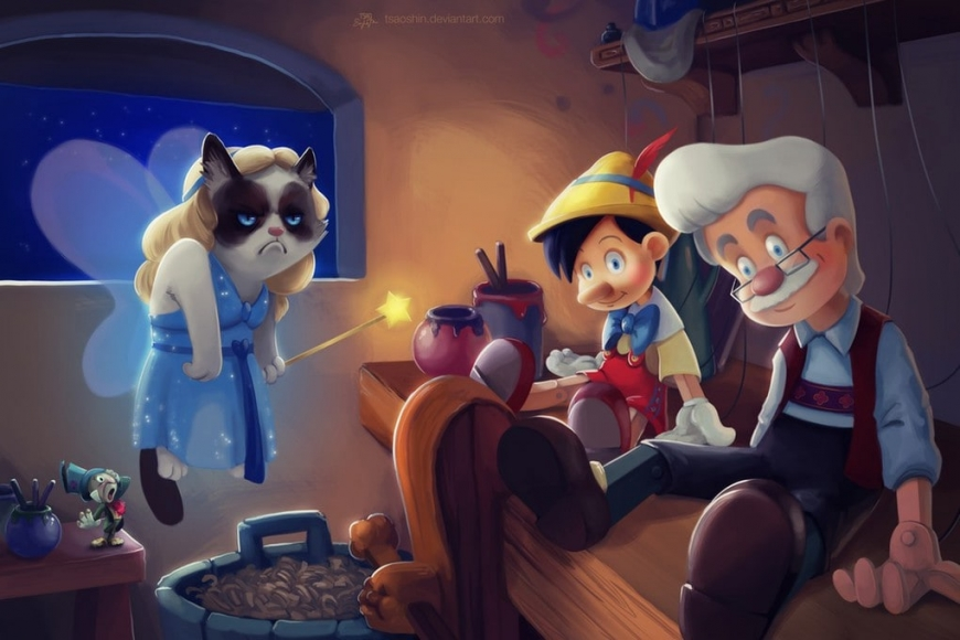 Grampy cat in Disney movies