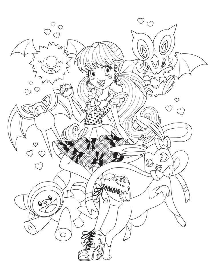 Monster High pokemon trainers coloring