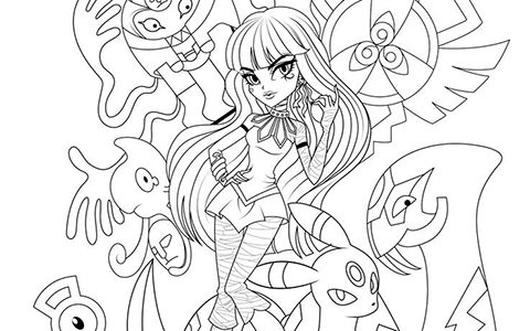 Monster High pokemon trainers coloring pages