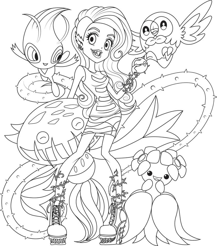 Monster High with pokemon coloring pages