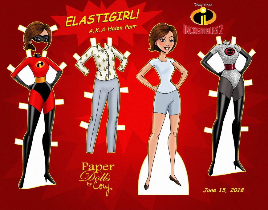 Helen Parr Incredibles 2 - Elastigirl paper doll with clothes
