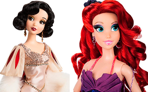 Promo pictures of Ariel, Cinderella, Jasmine and Snow White  Designer Collection doll line Premiere Series