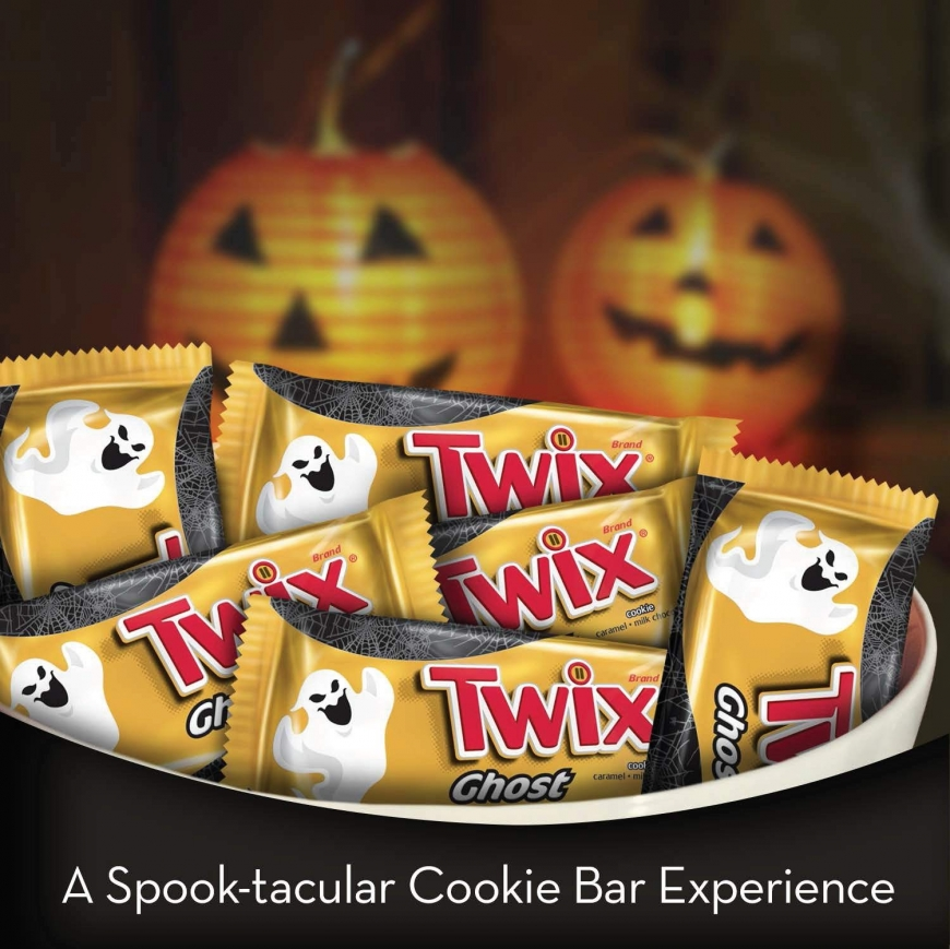 TWIX Halloween Caramel Singles Size Chocolate Cookie Bar Candy Ghosts