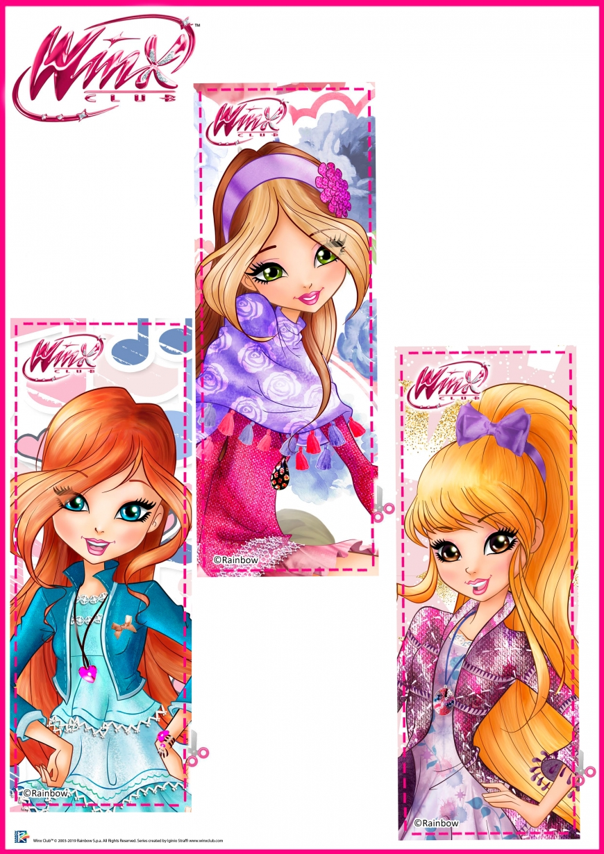 Winx Club season 8 bookmarks with Bloom, Flora and Stella's arts